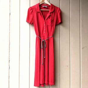 Vintage 1970s Bright Red Knit Dress S M
